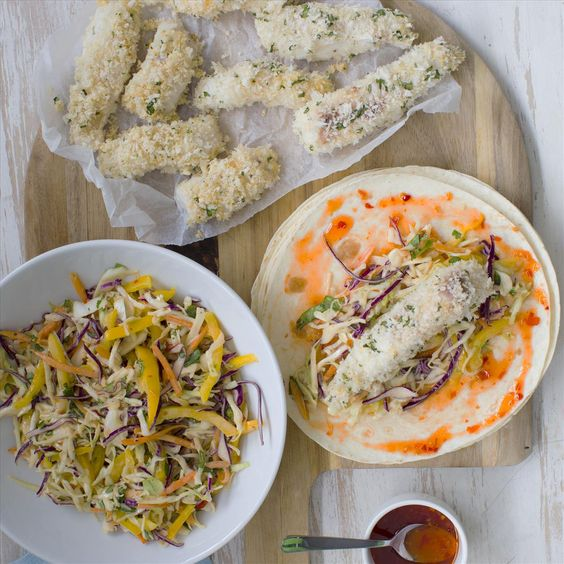 Crunchy fish tacos with asian coleslaw my food bag for Fish tacos with coleslaw