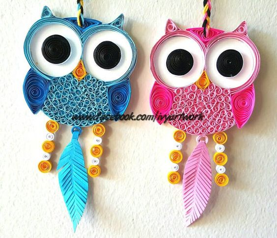 Paper quilled owl decor owl nursery art owl wall art for Quilling home decor