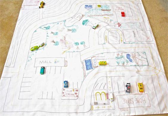 village on fabric: