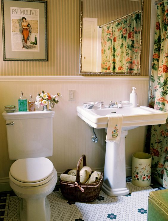 Tudor Cottage bathroom   I might go with different art  amp  wallpaper  but. Tudor Cottage bathroom   I might go with different art  amp  wallpaper