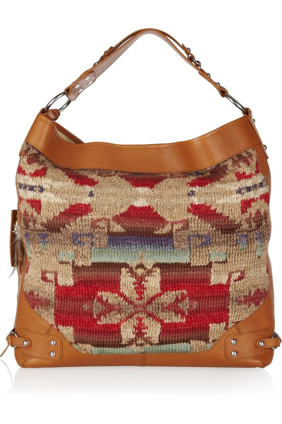 RALPH LAUREN COLLECTION  Beacon leather-trimmed woven linen hobo bag