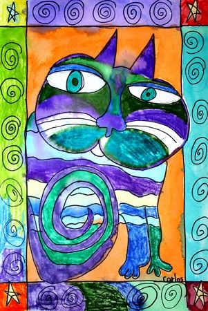 Laurel Burch Sharpie and Watercolor.  Also great on colored paper with oil pastels.