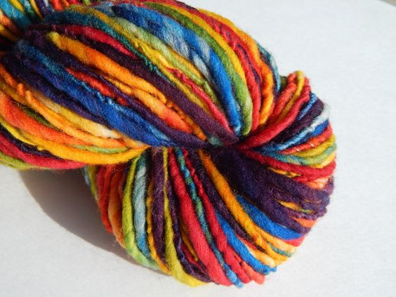 Rainbow RunHandspun Wool Yarn by Fabulosity on Etsy, $25.00