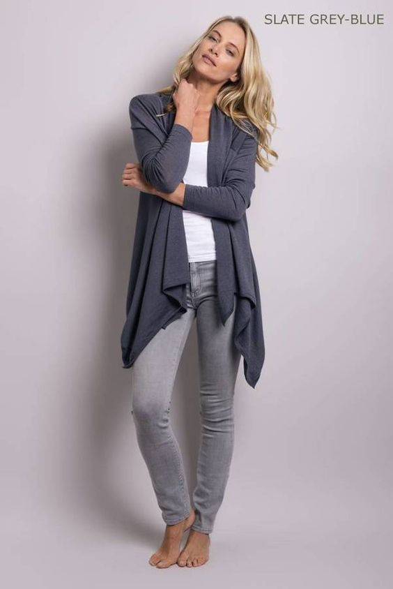 Cashmere Superfine Drape Cardy - Slate Grey-Blue
