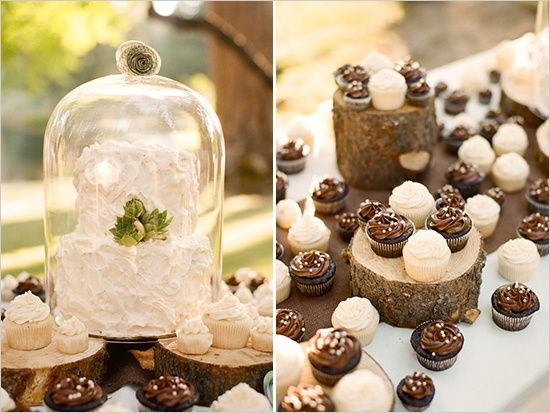 rustic vintage brown beige cream wedding dessert table