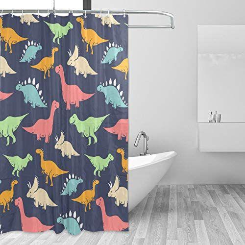 Zoeo Navy Blue Backdrop Funny T Rex Dinosaur Shower Curtain In