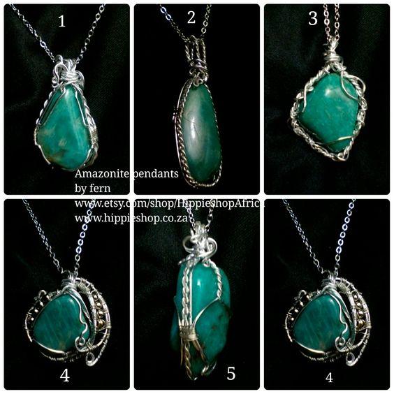 amazonite pendant handmade wire work jewelry by