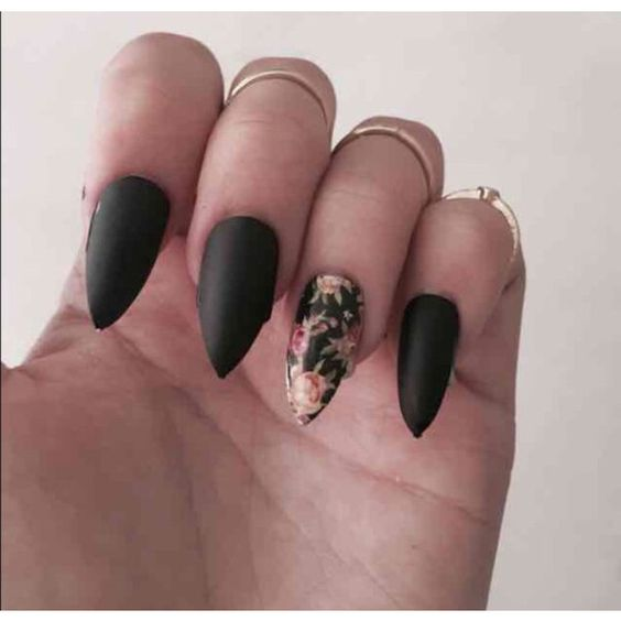Floral and matte black stiletto fake nails set (£12) ❤ liked on Polyvore featuring beauty products, nail care and nail treatments