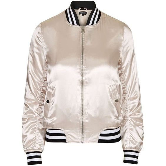TopShop Sateen ma1 Bomber Jacket (€76) found on Polyvore featuring women's fashion, outerwear, jackets, bomber jacket, tops, topshop, pale pink, utility jacket, flight jacket and pink jacket: