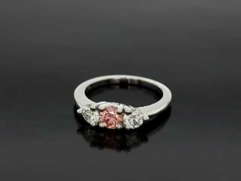 Pink Chatham Cultured Diamonds And Gemesis White Cultured Diamond Three Stone Ring Youtube Cultured Diamonds Three Stone Rings Rings