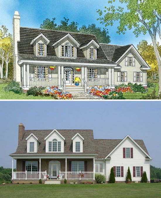 Dormer windows front porches and the double on pinterest - House plans dormers ...