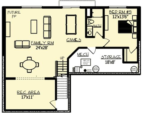 Lower Level house plan 73331HS