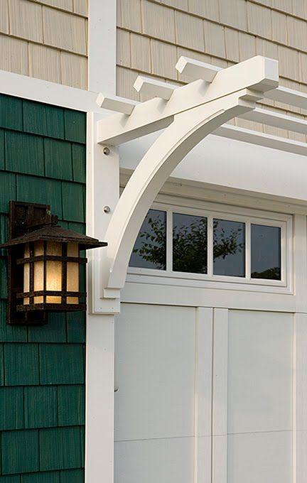 Garage detail carriage house door arbor and light for Window trellis design