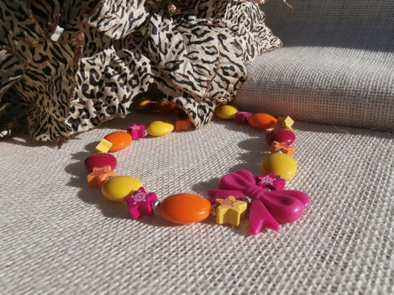 Pink Orange and Yellow chunky bead necklace for by SofiasCottage, $9.50