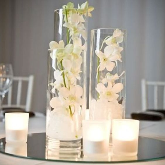 Clear cylinder vase decorations clear glass 10x25cm - Vase plat centre de table ...