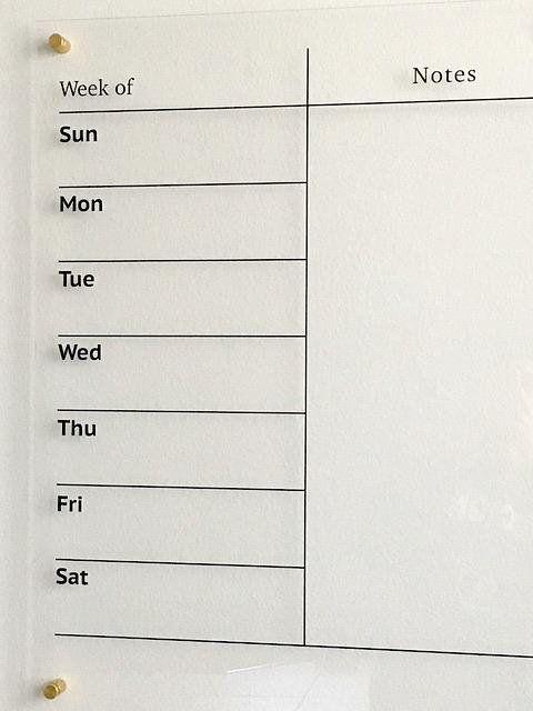 Dry Erase Weekly Calendar Board Acrylic Wall Calendar Etsy In 2020 Weekly Wall Planner Weekly Wall Calendar Calendar Board