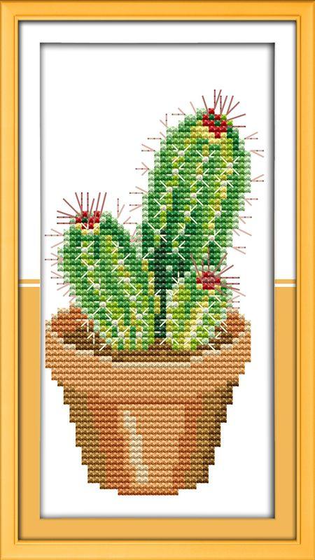 Cactus flores fio de algodão DMC ponto cruz kits 11ct branco impressão em lona bordado de costura artesanal artesanato de decoração(China (Mainland))
