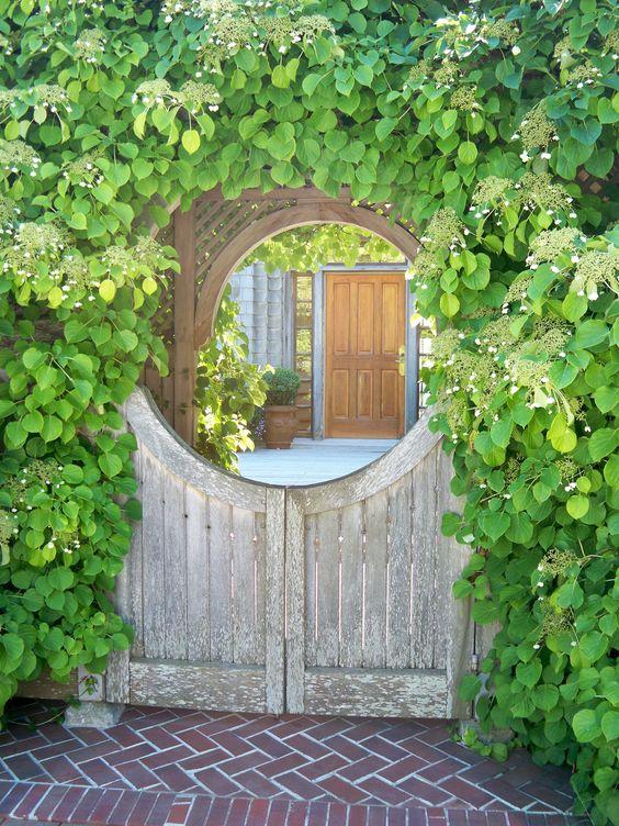 Garden gate ideas and inspiration: a beautifully framed arch with climbing vines. #gardengate #gardenideas #climbingvines #summerstyle #courtyard