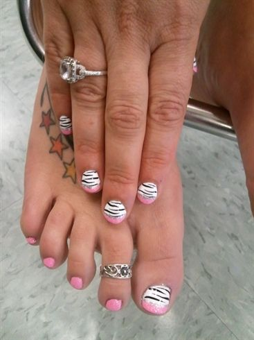 Girly Zebra Mani/Pedi    Check out more #Art & #Designs at: http://www.vektfxdesigns.com