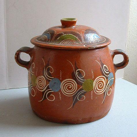 Mexican Pottery Redware Bean Pot Vintage Mexico