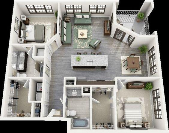 50 plans 3d d 39 appartement avec 2 chambres architecture for Idees plan maison