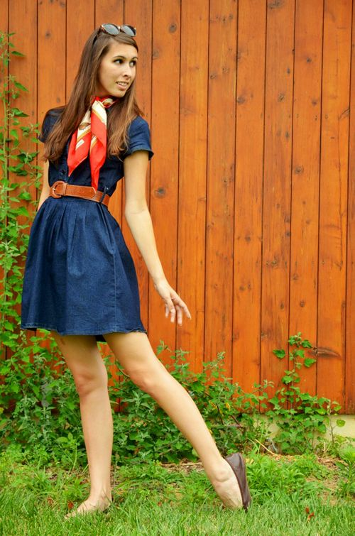 Vintage scarf and denim dress