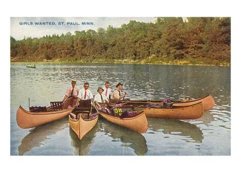 Men in Canoes, St. Paul, Minnesota Premium Poster at Art.com