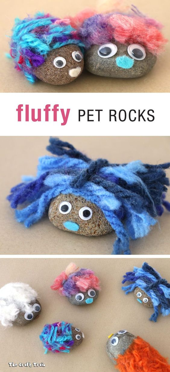 Create adorable fluffy pet rocks using yarn from pom pom trimmings. This is a fun and easy rock craft for kids