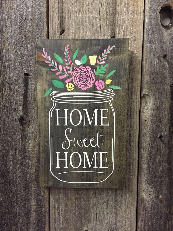 Home Sweet Home Mason Jar Sweet Evergreen Wood Sign And