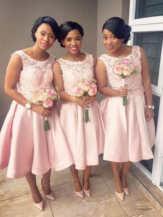 Pink Bridesmaid Dresses 2020 Knee Length Lace Applique Sleeveless Satin Custom Wedding Guest Dress In 2020 Tea Length Bridesmaid Dresses African Bridesmaid Dresses Romantic Bridesmaid Dresses