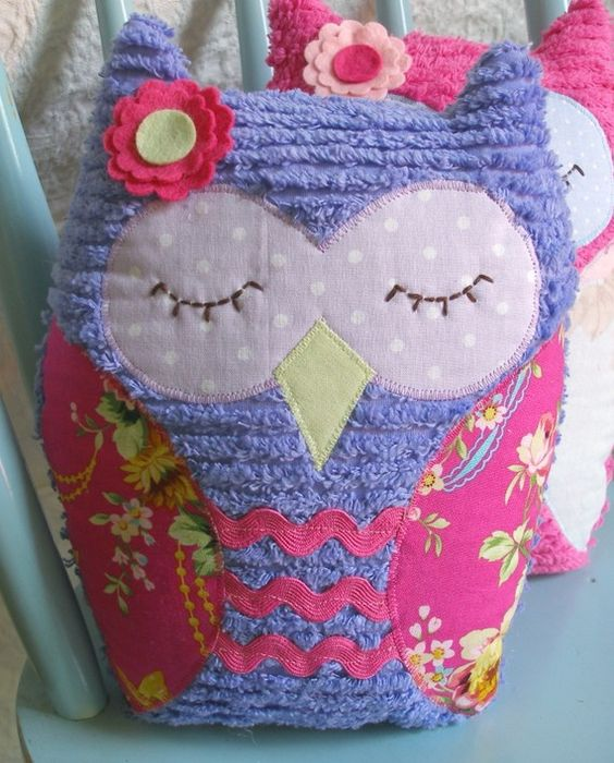 Purple Vintage Inspired Chenille Owl