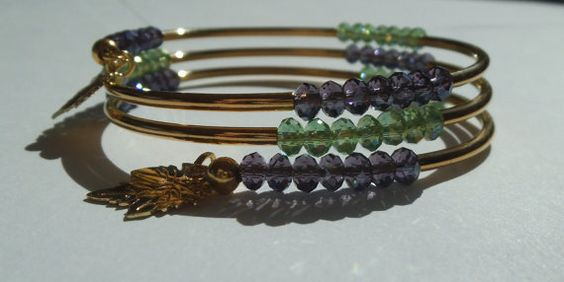 On Sale Green and Purple Crystal Spiral Wrap by Windychimes