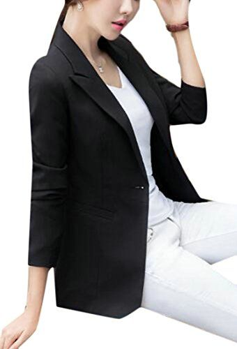 desolateness Womens Pure Color Long-Sleeved Slim Single Breasted Blazers