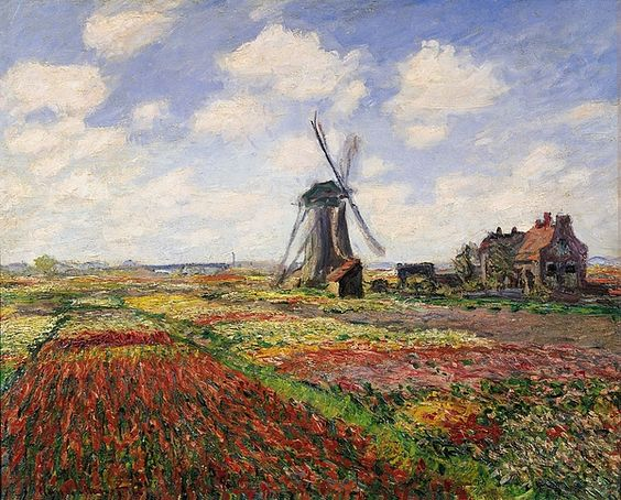Tulip Fields with the Rijnsburg Windmill, 1886 (oil on canvas) by Claude Monet