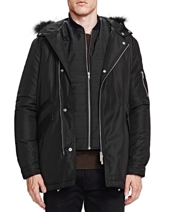 The Kooples Heavy Nylon and Leather Coat | Products | Pinterest ...