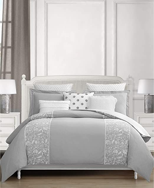 Lacourte Althrop Embroidered Cotton 8 Piece King Comforter Set Grey Comforter Sets King Comforter Sets Grey Comforter Sets