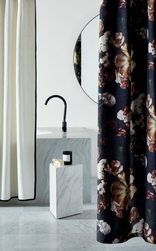 Moody Shower Curtain Blooms In A Large Floral Print By