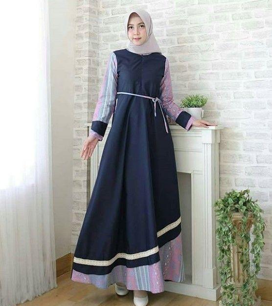 Model Baju Gamis Batik Kombinasi Kain Polos Simple Navy