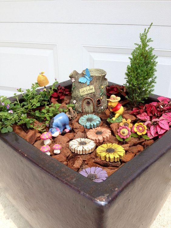 winnie the pooh fairy garden fairy gardens pinterest gardens the o 39 jays and winnie the pooh. Black Bedroom Furniture Sets. Home Design Ideas