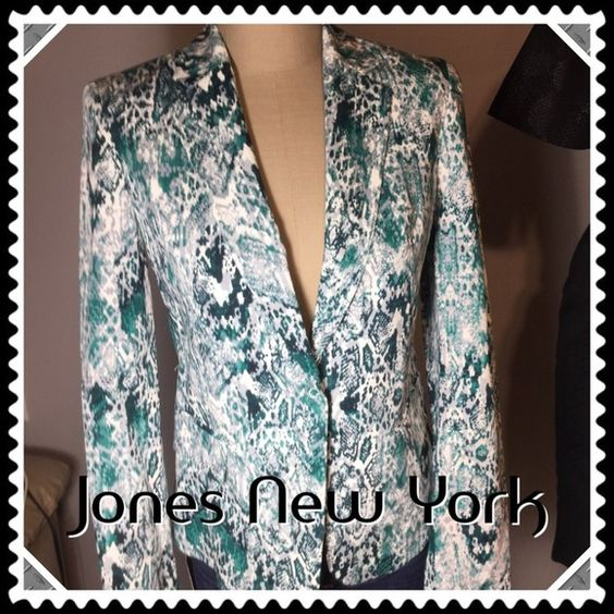 "SALE Jones NY Multi-Colored Blazer/Jacket -NWT Gorgeously stunning Jones New York blazer in colors of greens with white and grey. Measurements: 15.5"" across back of shoulders, 17"" across bust line, 22.5"" in length and 24"" sleeves. 2 faux pockets in either front side. Made of in 4th pic as well as washing description. Don't miss out on this stylish and unique piece! Jones New York Jackets & Coats Blazers"