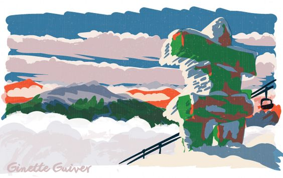 Inuksuk, 7th Heaven, Whistler, Canada illustration. Winter mountain adventures in the snow, skiing and snowboarding and having a nice time. Ginette Guiver design, illustration, printmaking and adventures blog