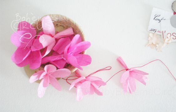 DIY Paper Garland - Guirlande de fleurs en papier