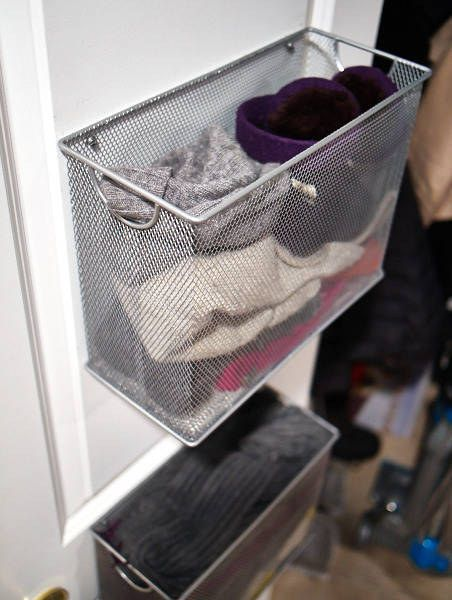 Need extra closet space. Screw these filing trays on the back of your closet doors. They are great for storing socks and underwear.