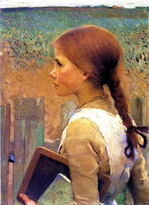 Sir George CLAUSEN (1852 - 1944) Another one who largely rejected his principle teachers methods in favour of the 'realism' of Bastien-Lepage. Along with Stanhope-Forbes, Clausen became one of the founder members of the Newlyn school of painters - the English version of Bastien-Lepage's Breton School (or the 'black school' as it was unkindly referred to in France).