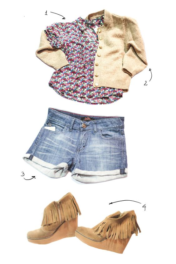 1_ Blusita floreada 2_ Cardigan marrón retro. talle S 3_ Short de jean Las oreiro con detalle de moñitos en los bolsillos de atrás 4_Botinetas de gamuza #fashion