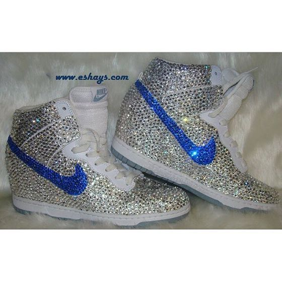 Increíble Pocos Elemental  shoes,custom fully covered clear and navy rhinestone white nike dunk sky hi  wedge sneaker,blue rhinestones,clear rhinestones… | White nikes, Sneakers,  Blue sneakers