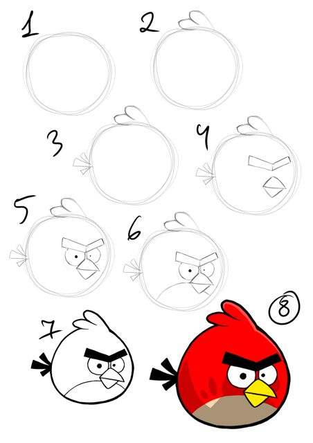 how to draw angry bird step by step instruction: