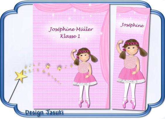 Hülle f. Hausaufgabenheft, Ballerina + Lesezeichen von Jasuki auf DaWanda.com
