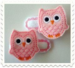 Machine embroidered owl felt hair clips - $6 pair @Greta Adams