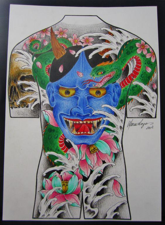 estudo de hannya, serpente e lótus para tattoo